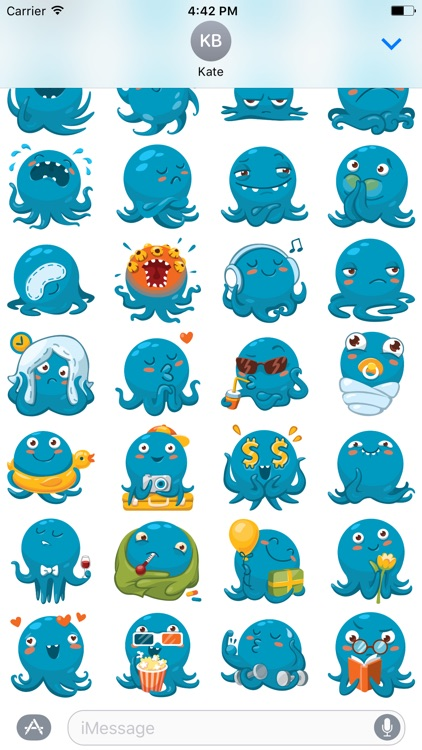 Octo the angry Octopus iMessage stickers