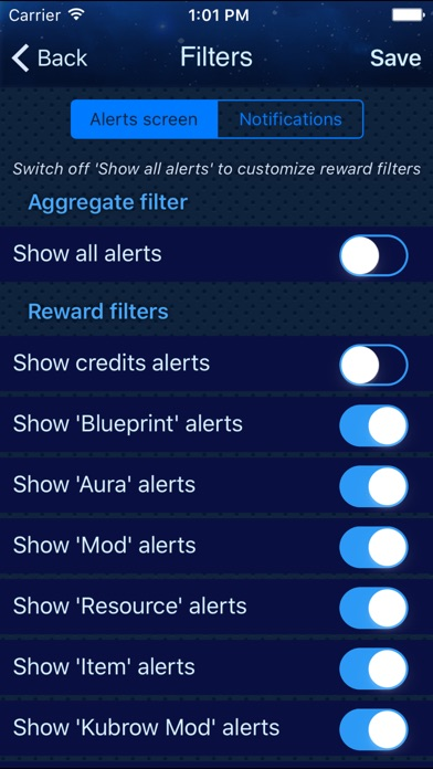 Alerts for Warframe