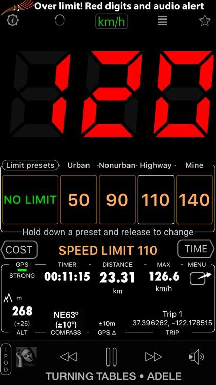 Speedometer Free Speed Limit Alert + GPS Black Box screenshot-3