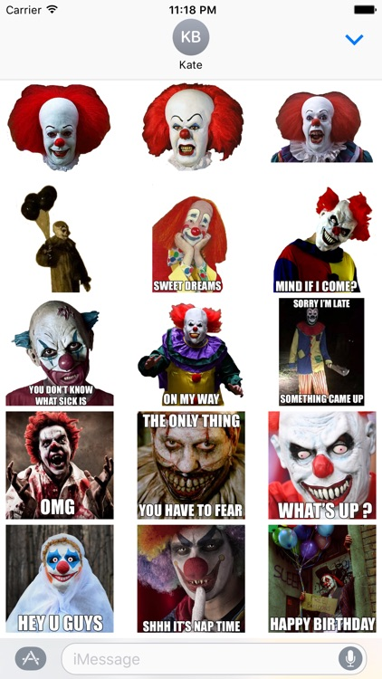Creepy Clown - Scary Halloween Stickers