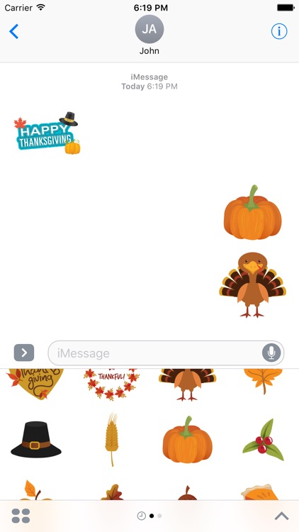 Thanksgiving Stickers Pack for iMessage Text Chat