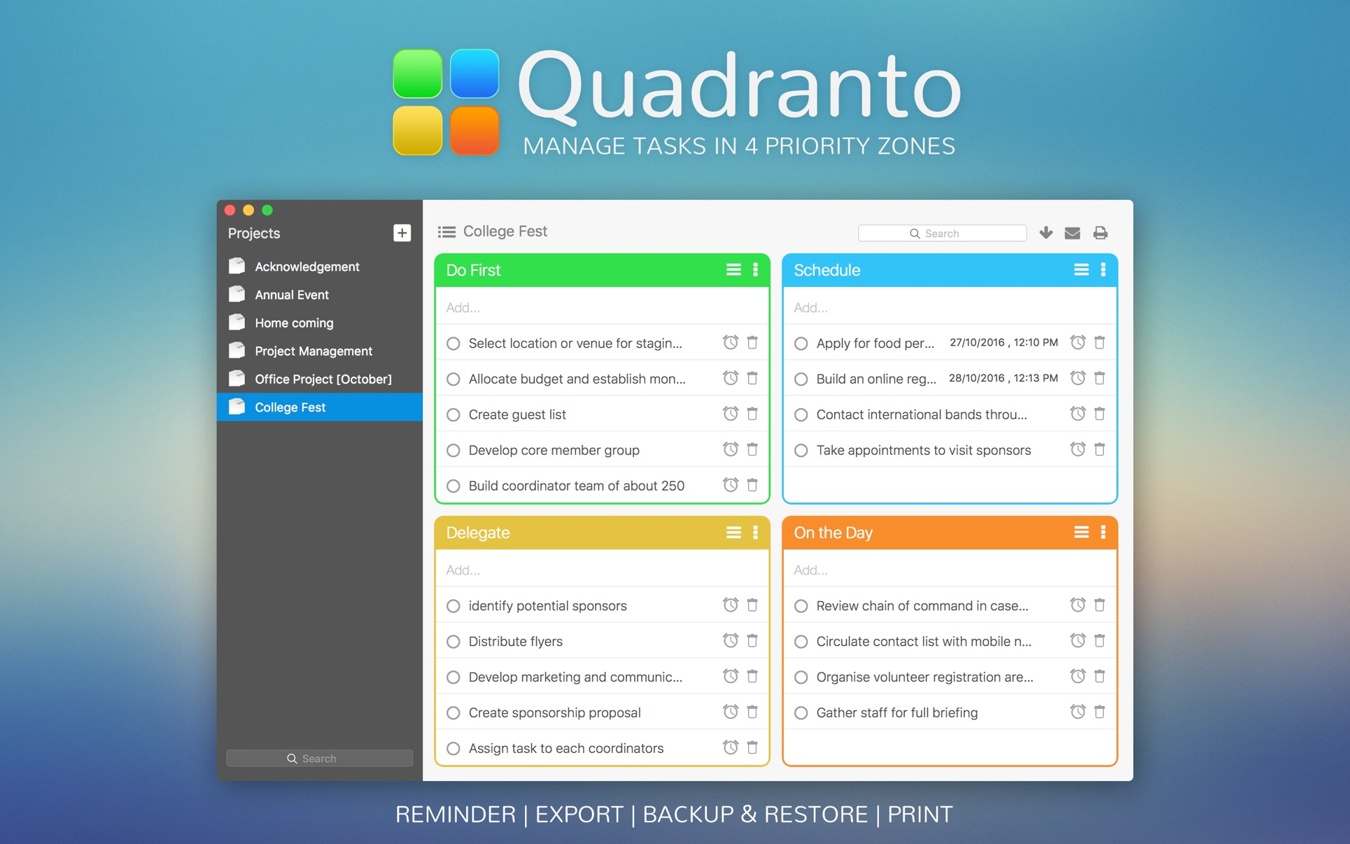 ‎Quadranto - Manage Tasks in 4 Priority Zones on the Mac App Store