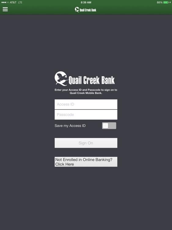 Quail Creek Bank for iPad