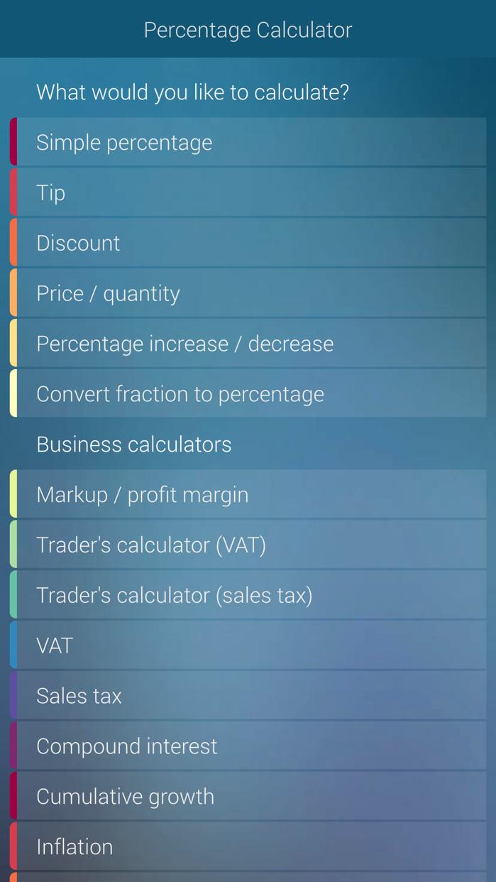 Percentage Calculator - percent, discount, tip Screenshot