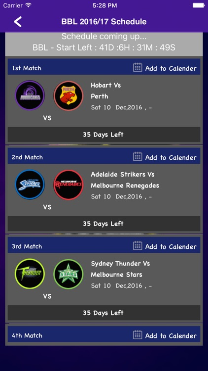 BBL T20 2016/2017 Fixtures,Schedule,Live Score screenshot-1