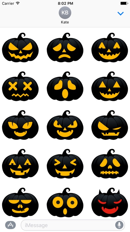 Black Pumpkin Halloween Sticker for iMessage