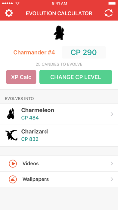 Evolution Calculator for Pokemon GO - XP & CP