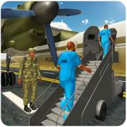 军队的囚犯运输机-驱动器警察范 & 军事航母在这飞行模拟器游戏
