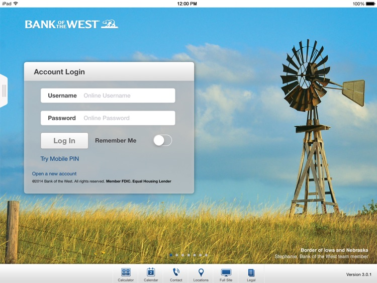 Bank of the West Mobile Banking iPad App