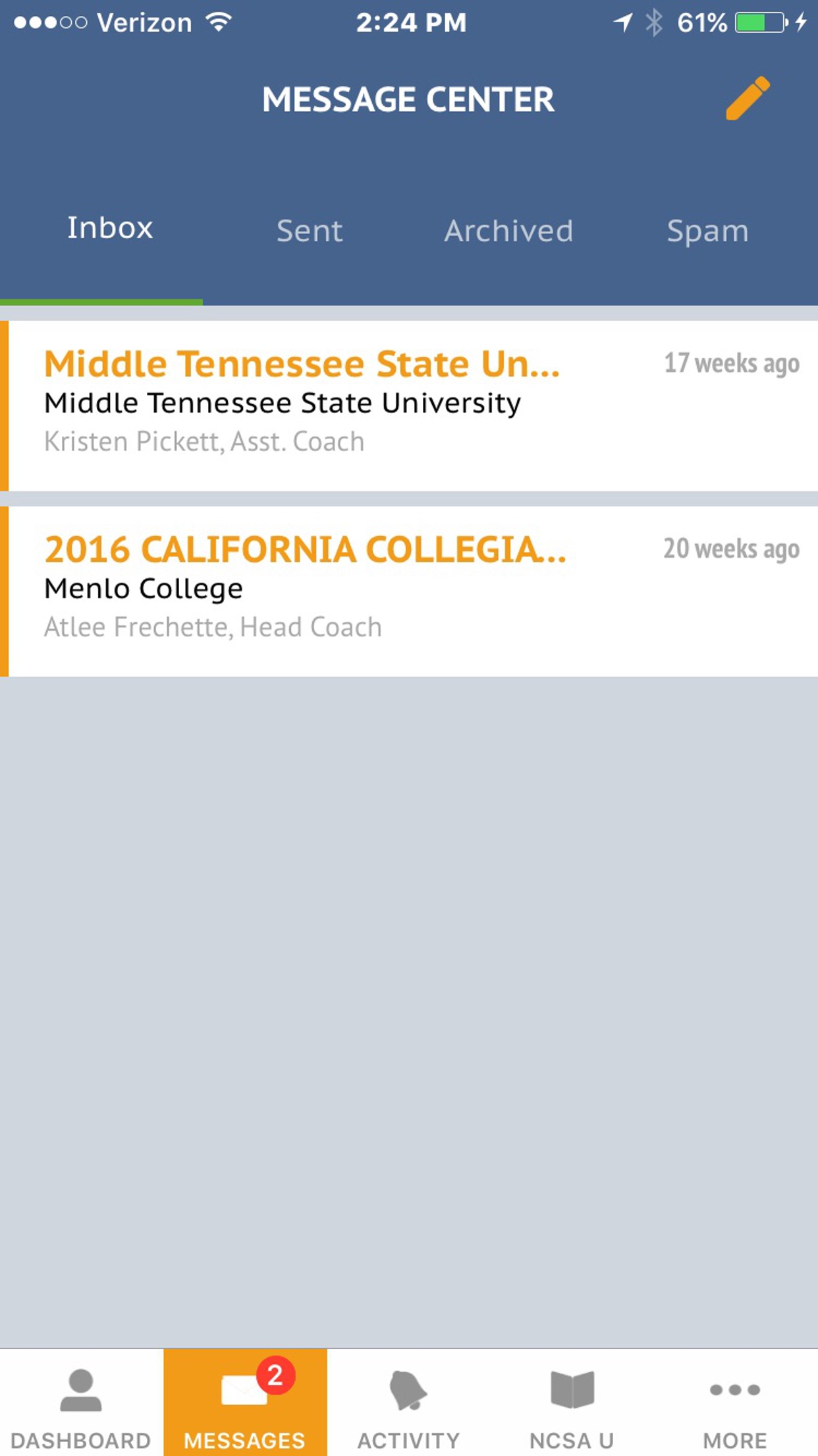 NCSA Athletic Recruiting Screenshot