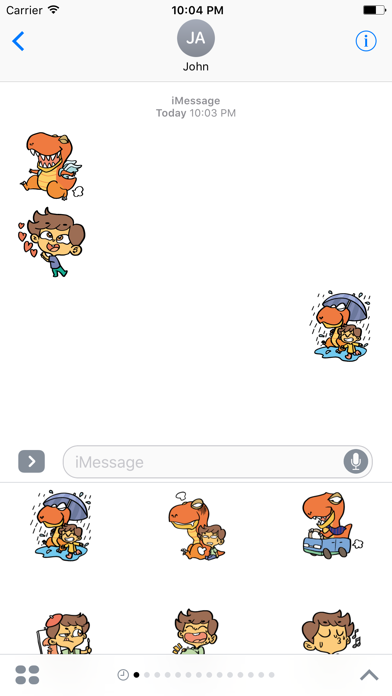 Justin and his Dinosaur sticker pack