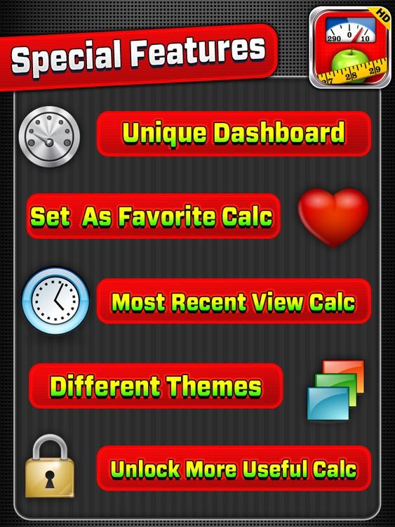 9+ in 1 : Fitness Calculators HD screenshot-4