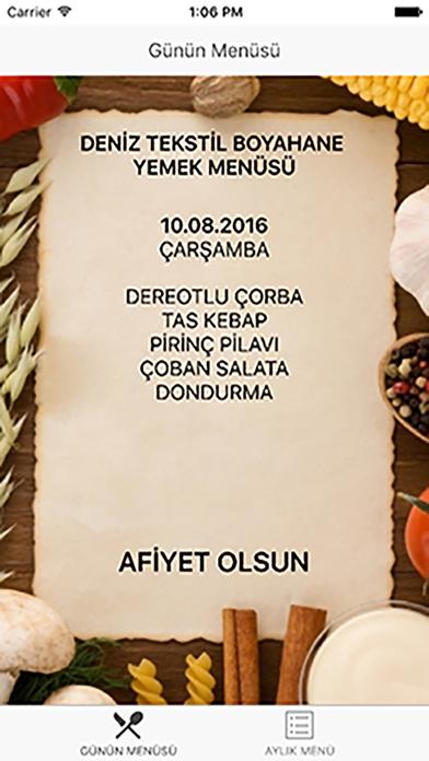 Deniz Tekstil Yemek Menüsü Screenshot