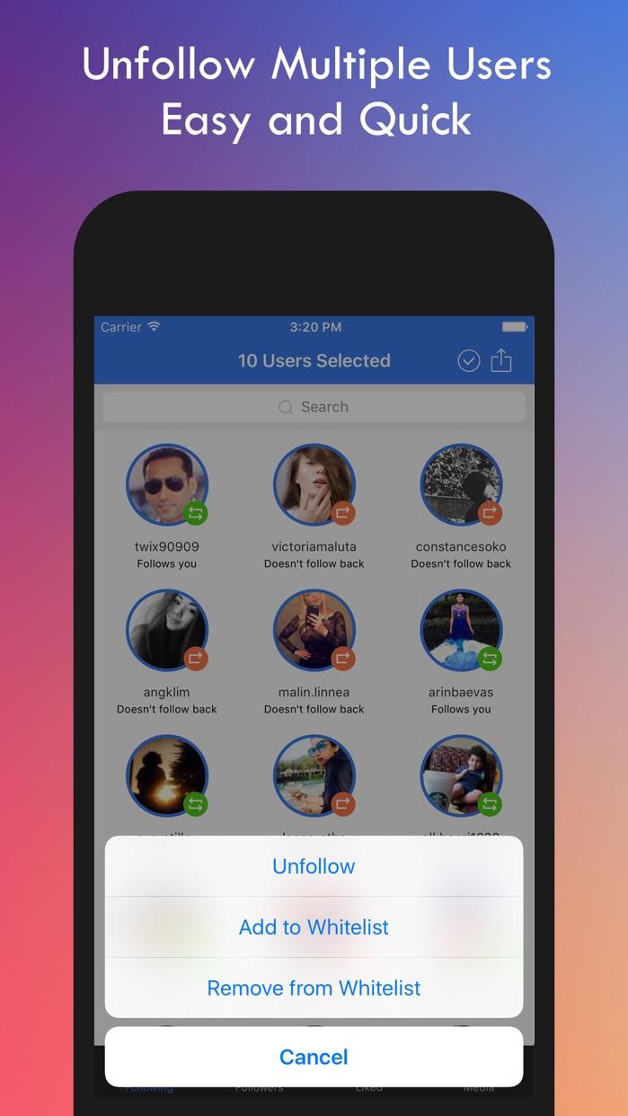 Delete for Instagram: Mass Unfollow Followers Screenshot