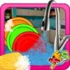 女孩洗碗 - 厨房清理游戏