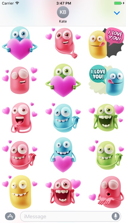 3D Love Colourful Stickers for iMessage