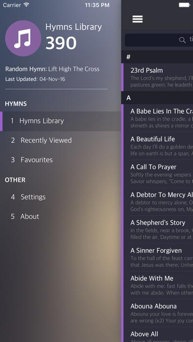 Hymns (English) screenshot one