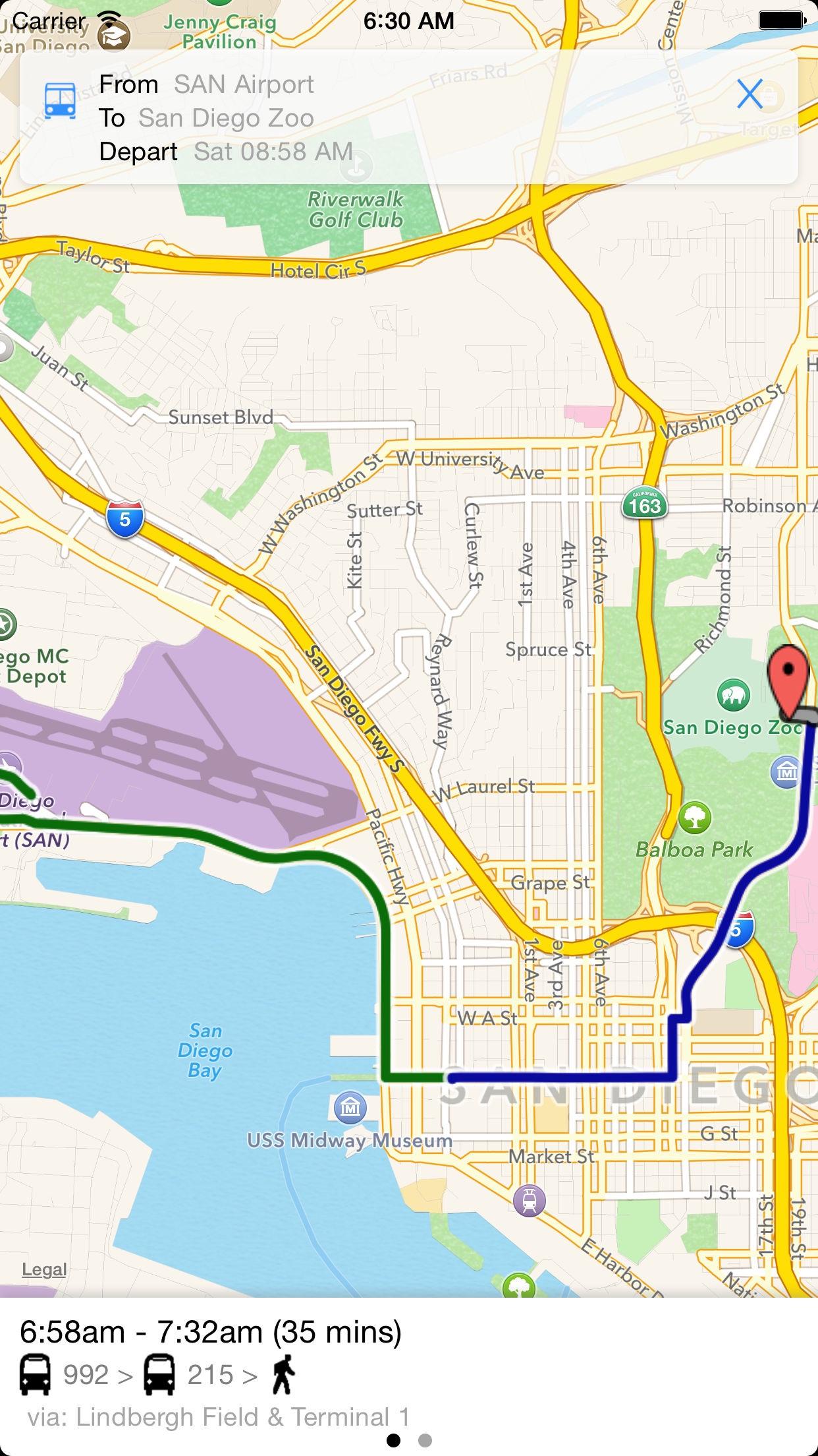 Transit Tracker - San Diego (MTS) Screenshot