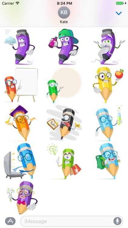 Cartoon Pencil Sticker Vol 01