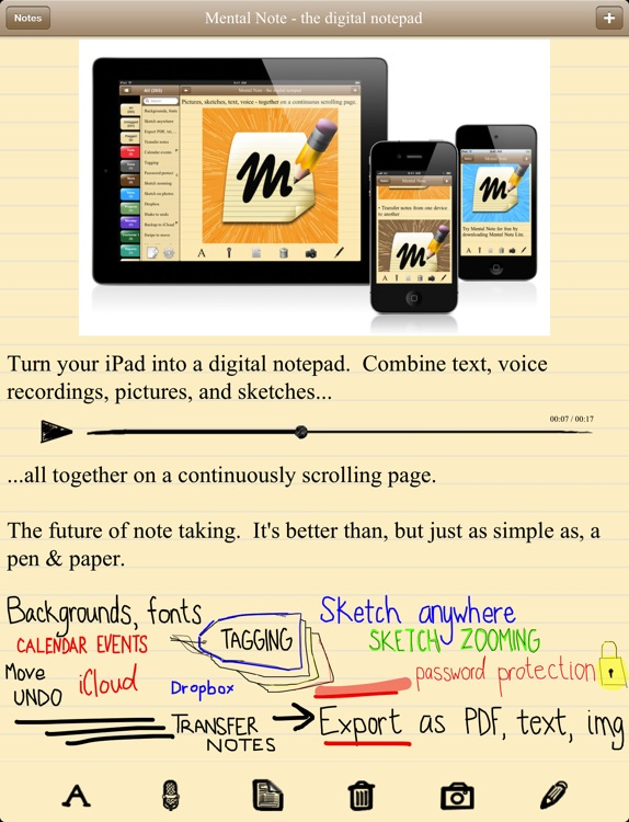 Mental Note for iPad - the digital notepad