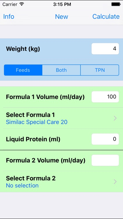 NICU Nutrition Calculator