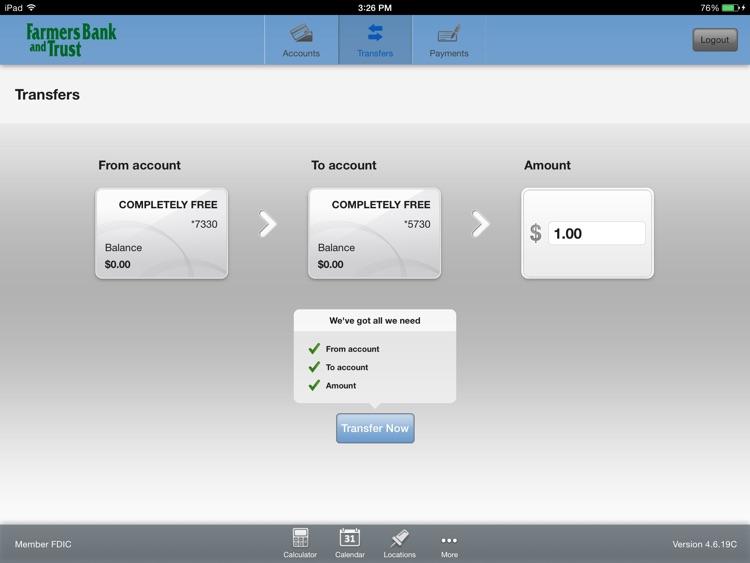 Farmers Bank & Trust Mobile for iPad screenshot-3