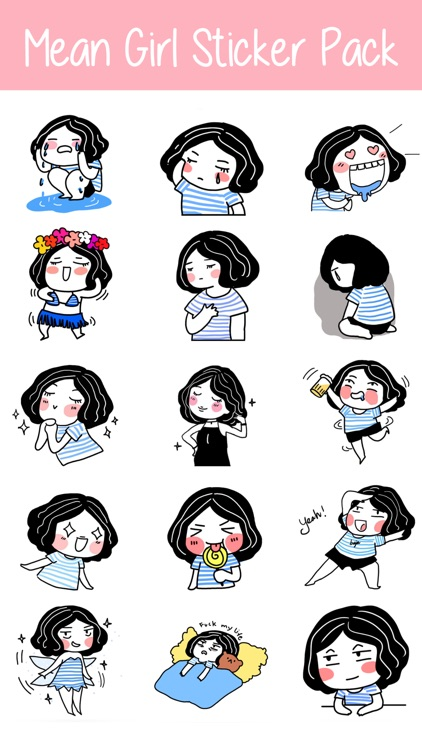 Mean Girl Sticker Pack for iMessage - Young Lady screenshot-4