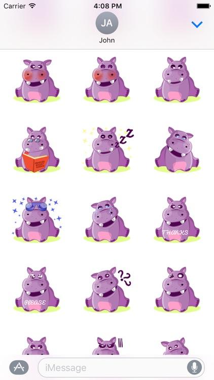 Hippo Cute Sticker screenshot-3