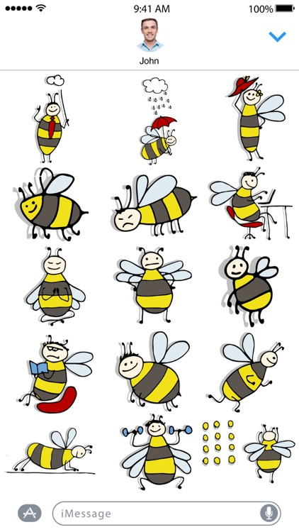 Funny Bee Stickers