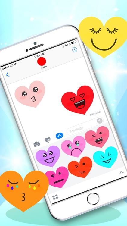 Kawaii Hearts Emoji - Sticker Set for iMessage screenshot-3