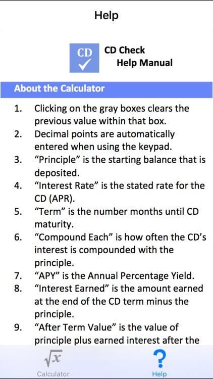 CD Check - Certificate of Deposit Mobile Calculator