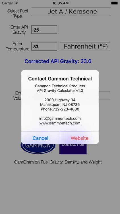 Gammon API Gravity Calculator