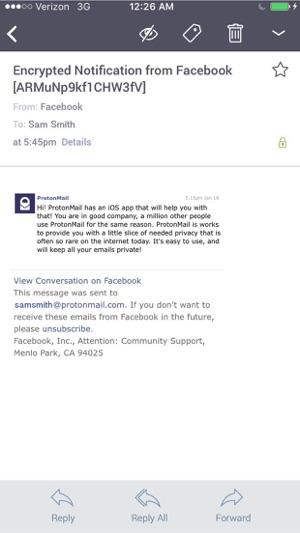 ProtonMail Verschlüsselte Mail Screenshot