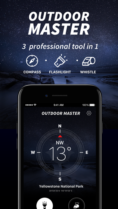 Outdoor Master-Compass, Whistle, Flashlight 3in1 | App Price