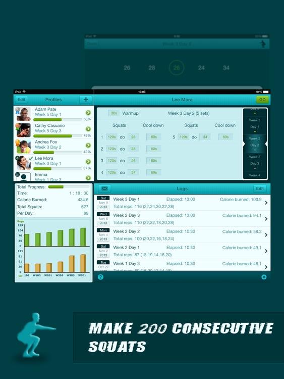 Squats Coach Pro for iPad - Do 200 Squats