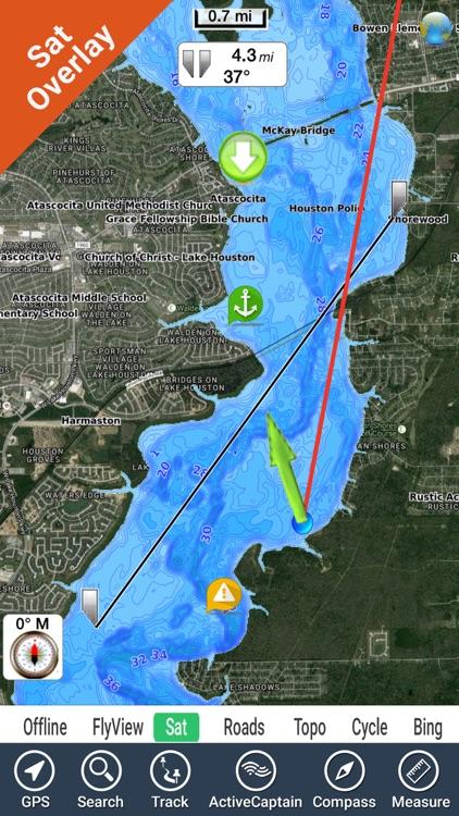 Lake Houston Texas GPS fishing map offline