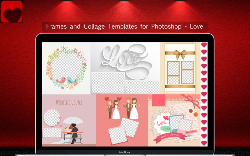 Frames and Collage Templates for Photoshop - Love screenshot 1