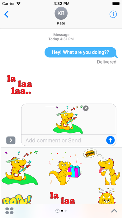 Macho Dino Stickers pack for iMessageScreenshot of 4