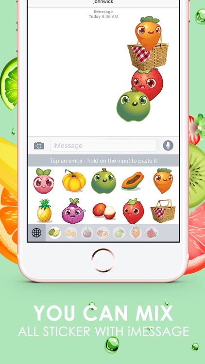 Fruits Emoji Pop Sticker Keyboard Themes ChatStick