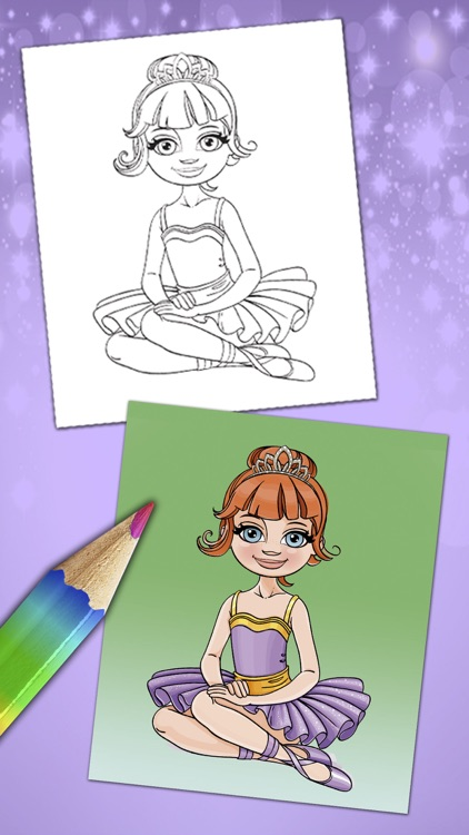Magical ballerina coloring book pages game Pro