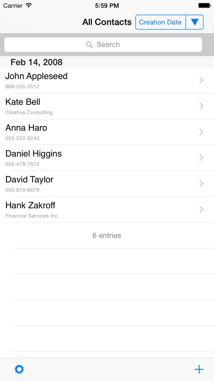 Contacts by creation date and advanced search