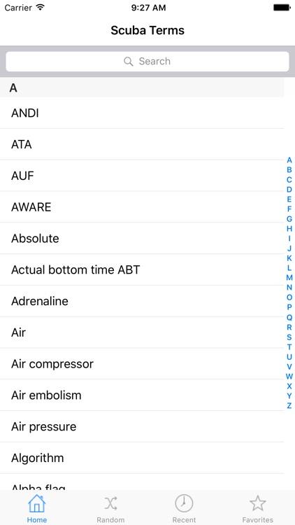 Scuba Terms for iPad