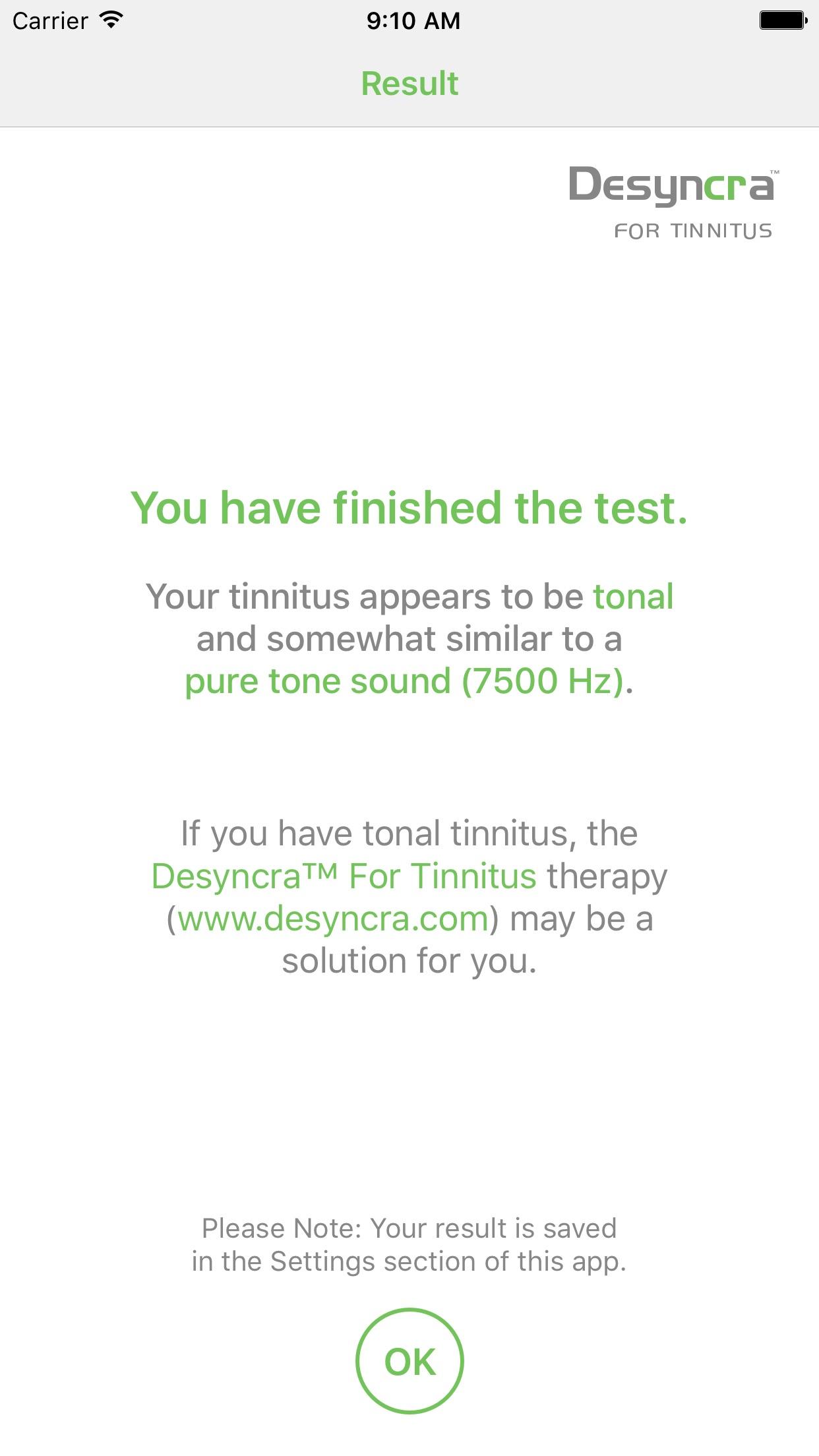 Tinnitus Sound Finder Screenshot