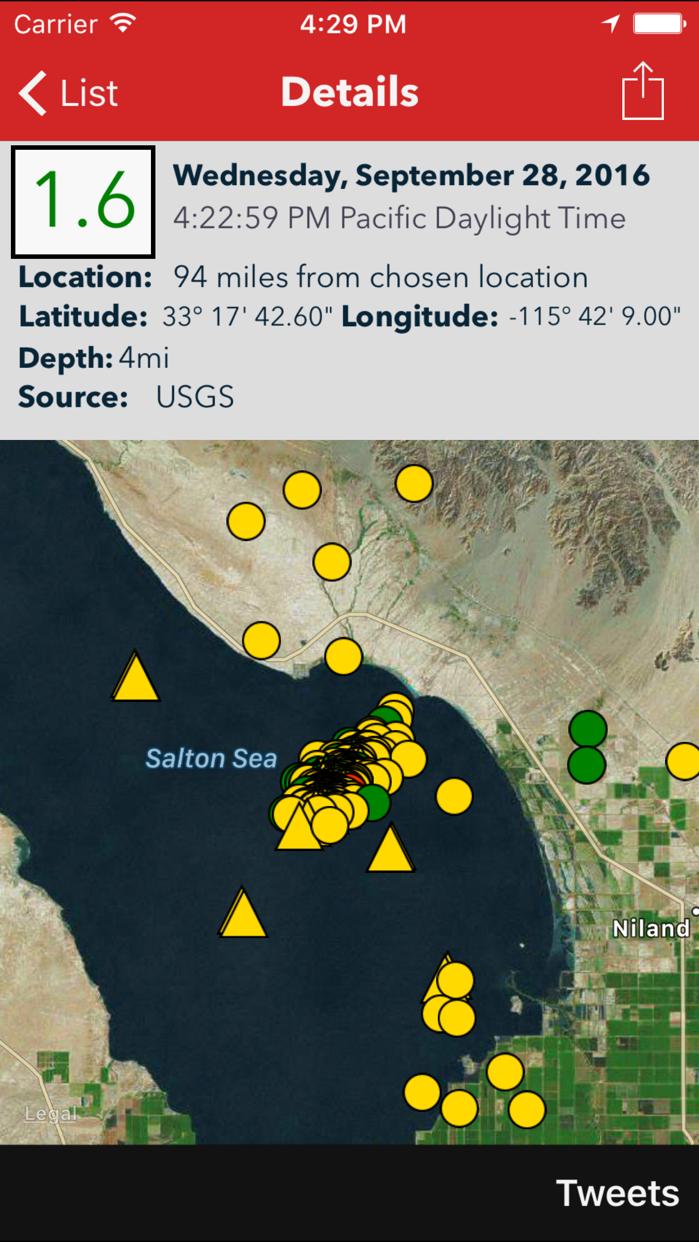 Earthquake Lite - Realtime Tracking App Screenshot
