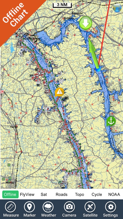 Kentucky Barkley lakes HD gps fishing spot & chart