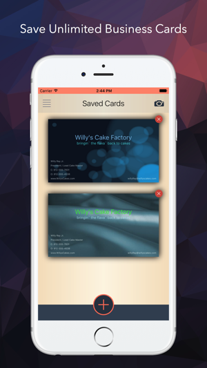 Connect the beautiful business card presenter on the app store screenshots colourmoves