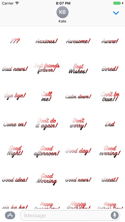 Expressions Red Grey Stickers for iMessage