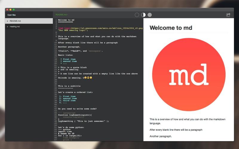 md - Markdown writing App