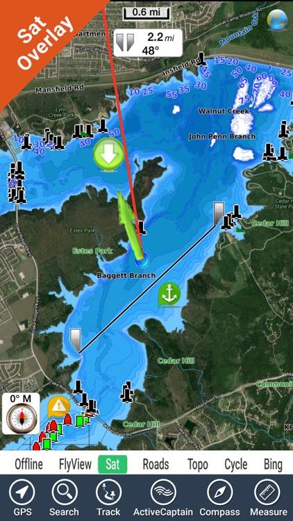 Joe Pool Lake Texas Gps Fishing Chart Offline By Flytomap