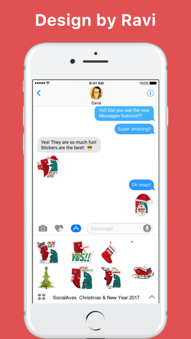 SocialAves - Christmas & New Year 2017 stickers screenshot one